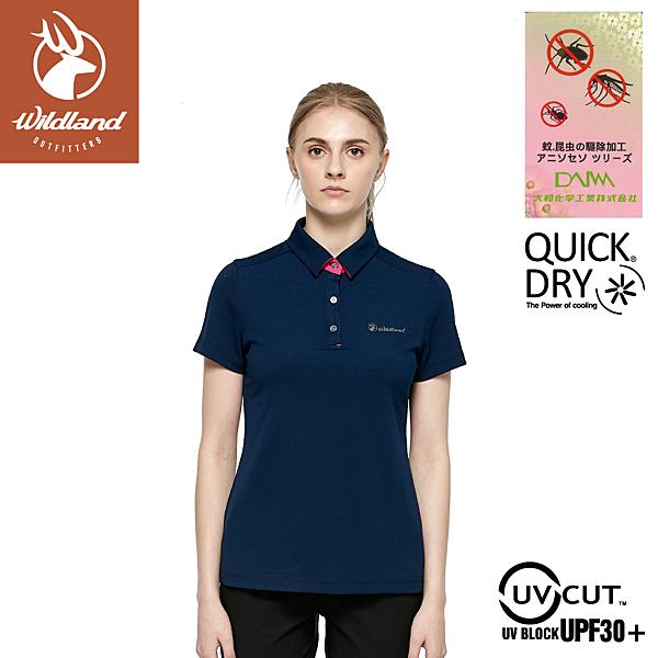 【Wildland 荒野 女 彈性防蚊抗UV排汗上衣《深藍》】0A81621/POLO衫/運動衣/休閒衫