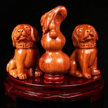 2020年鼠年生肖兔開運吉祥物靈葫雙犬擺件瑞犬添祿辦公室居家擺設