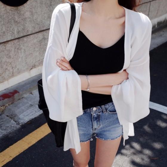 女生防曬外套 夏天必備 薄外套 透視外套 防曬衫 罩衫 軟妹必備 女生長袖超實用好搭輕薄百搭寬鬆雪紡開衫