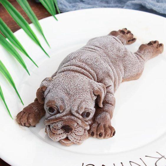 網紅沙皮狗慕斯模具烘培小奶狗巧克力霜淇淋小狗3d立體髒髒狗蛋糕