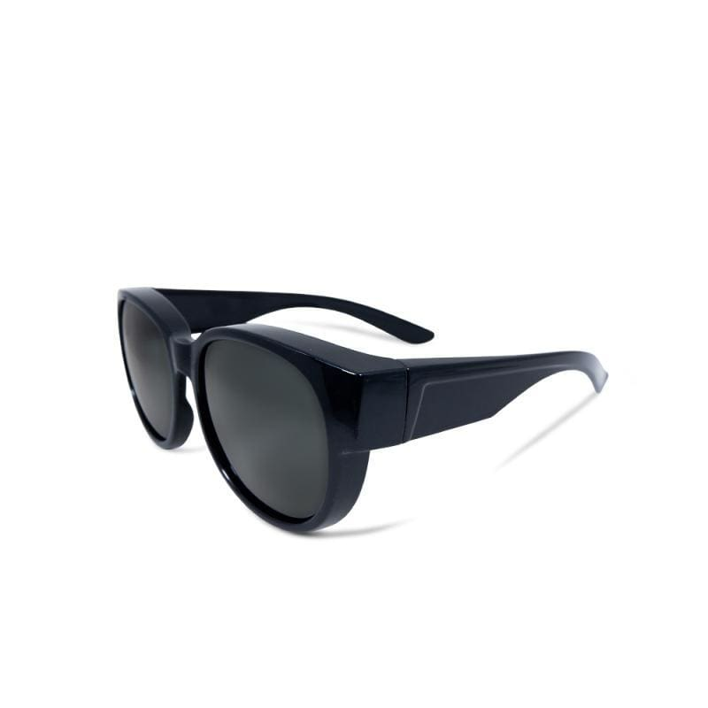 朝露水岸│全罩式│外掛式│象灰色圓框包覆式偏光太陽眼鏡│UV400墨鏡 象灰色