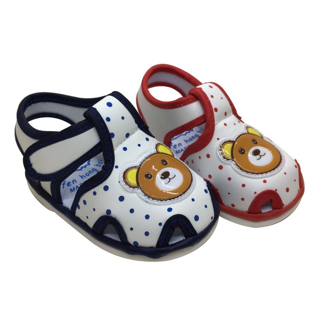 可愛熊圖案 寶寶鞋 嗶嗶鞋 BB鞋 有聲鞋 寶寶涼鞋 可愛童鞋A1047