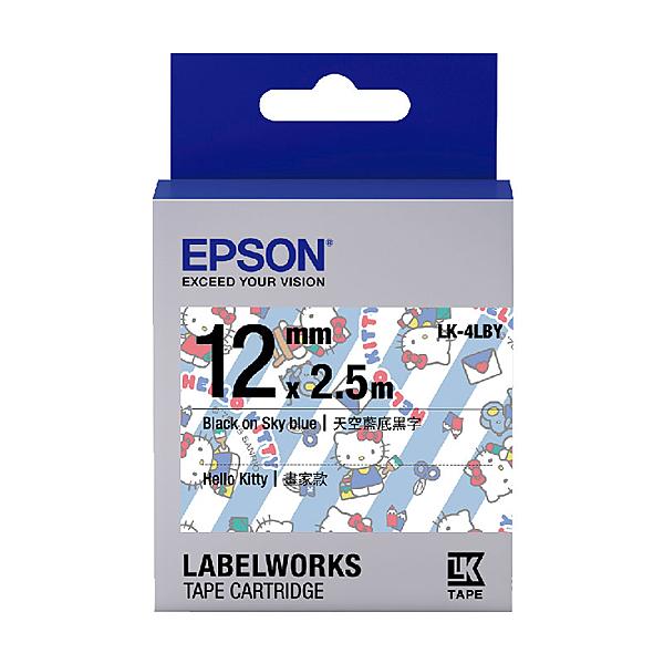 EPSON LK-4LBY C53S654449 Kitty系列畫家款藍底黑字標籤帶(寬度12mm)