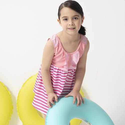 【SARBIS】女童連身裙泳裝附泳帽B882005