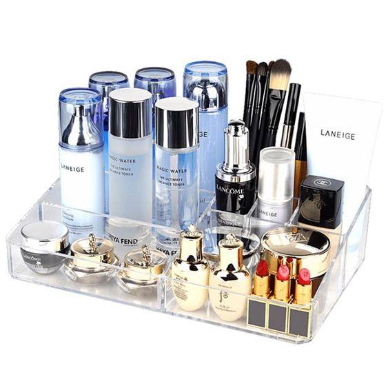 歐邦克桌面化妝品收納盒整理盒梳妝臺透明護膚品置物架口紅收納盒