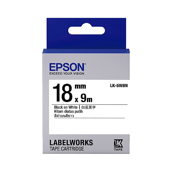 EPSON LK-5WBN C53S655401標籤帶 一般18mm 白底黑字