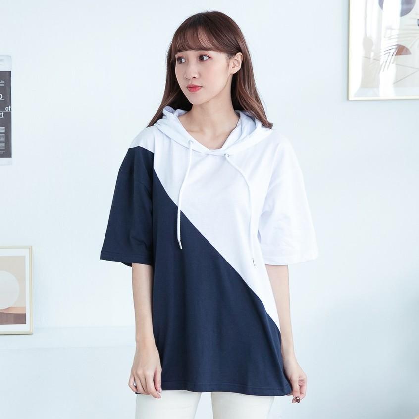 《預購7天》【YIJIAYI】 情侶雙色剪接短袖帽T恤【O廠】(O-SP2457)