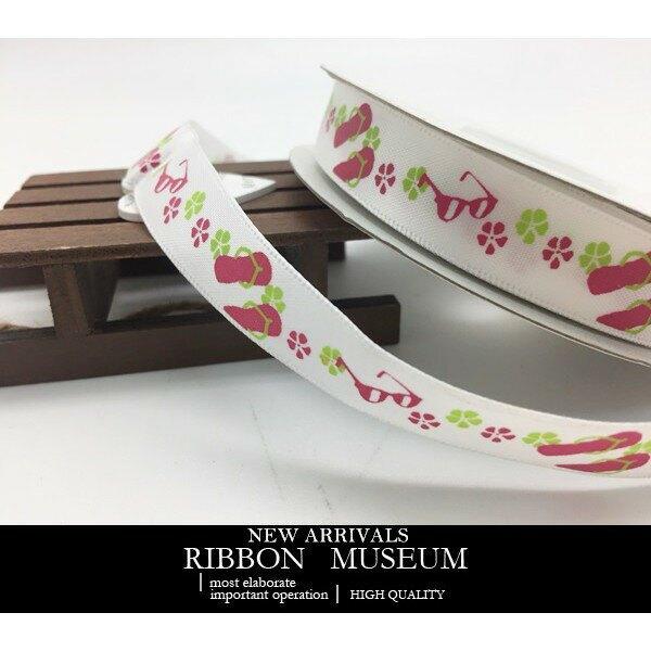 PR2485-1-TD001 夏日拖鞋印刷緞帶 15MM