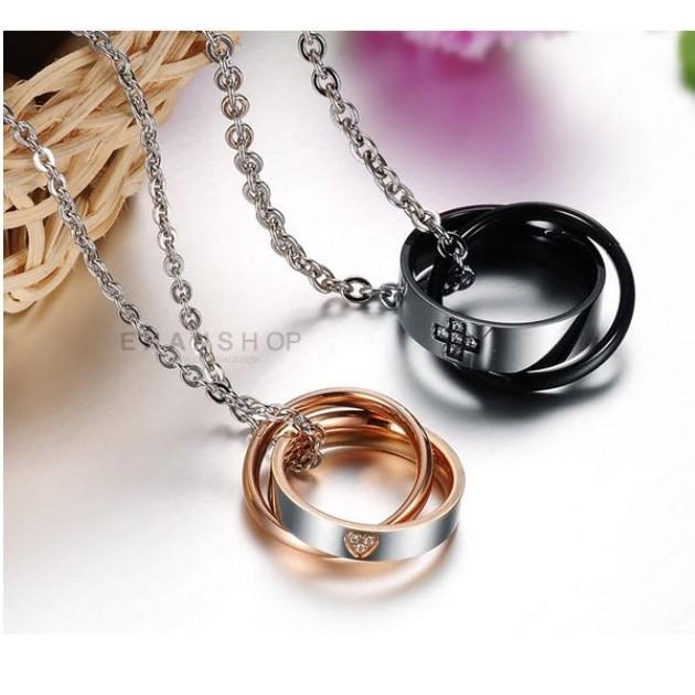 送6贈品惡南宅急店7444a十字雙環 鈦鋼項鍊鋼墜子鋼鍊情侶對鍊情侶項鍊不鏽鋼白鋼項鍊 單條價
