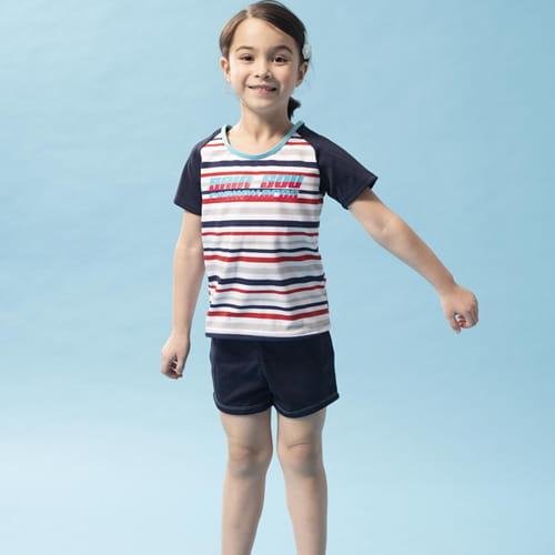 女童兩截式泳裝 SPA溫泉專用附泳帽A822009