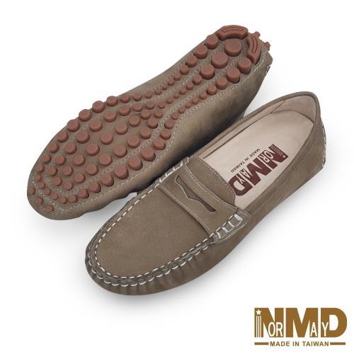 Normady 諾曼地 柔軟羊皮反絨麂皮磁石增高樂福豆豆鞋 MIT手工鞋 卡其色 LV1616-K1