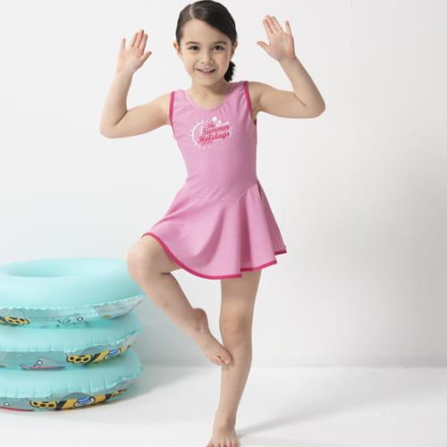 【SARBIS】女童連身裙泳裝附泳帽B882006