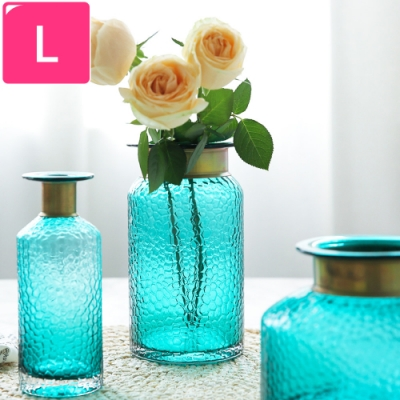 【Meric Garden】現代北歐輕奢銅圈藝術裝飾玻璃花瓶_L