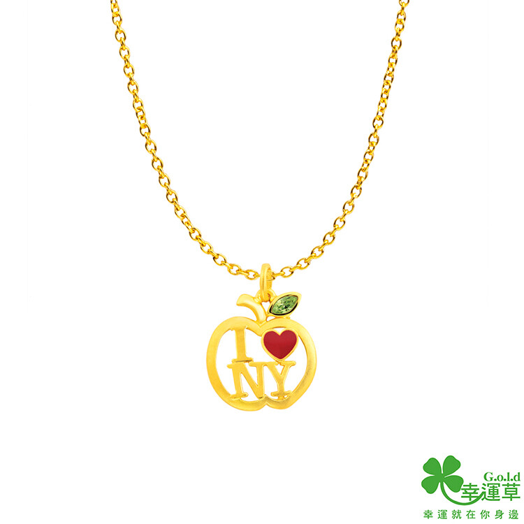 幸運草金飾 曼哈頓情緣黃金墜子 送項鍊