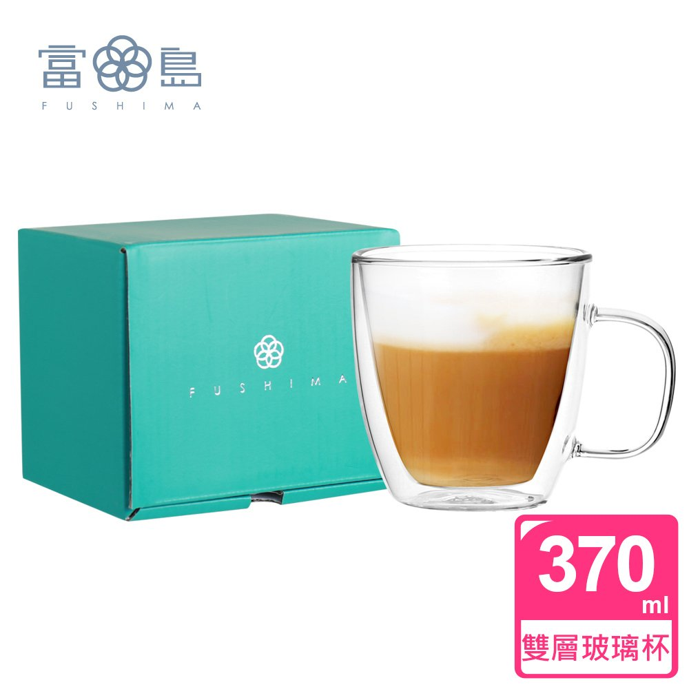 【FUSHIMA 富島】雙層耐熱玻璃杯經典禮盒370ML (把手)