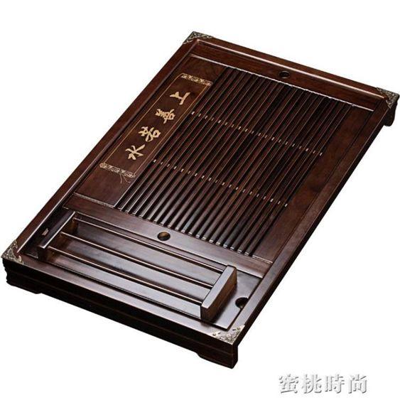 秦藝家用功夫茶具抽屜式排水茶盤實木大號小號儲水茶托盤茶海茶臺