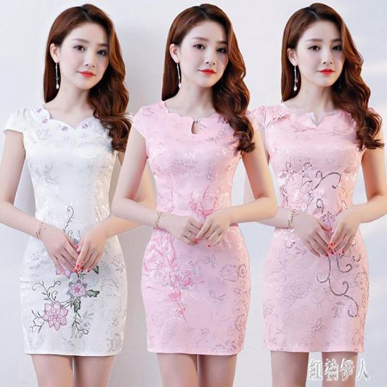 旗袍洋裝2020新款日常改良短款旗袍連身裙夏季少女復古修身中國風旗袍 PA14820