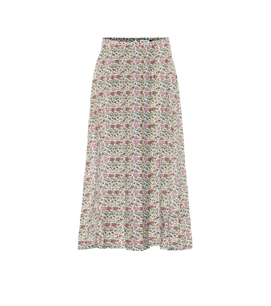 Georgia cotton and silk midi skirt
