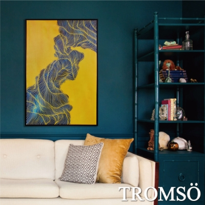 TROMSO 時尚風華抽象有框畫大幅 摩登金線 W976