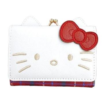 Hello Kitty 造型耳朵皮質口金短夾《紅白》零錢包.皮夾.皮包