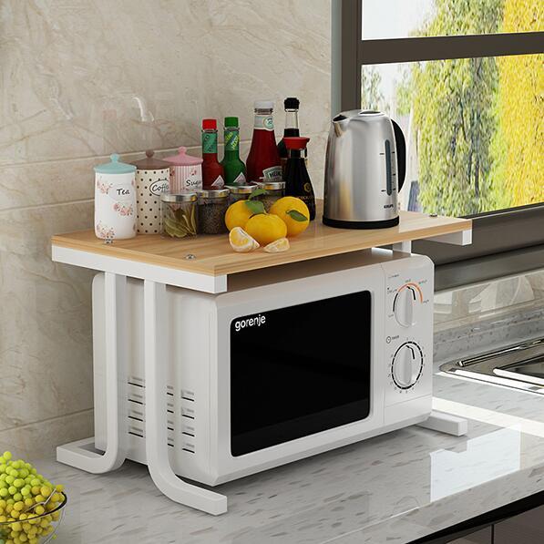 微波爐置物架廚房收納調味料架烤箱架電飯煲架簡約簡易雙層儲物架【全館免運 限時鉅惠】
