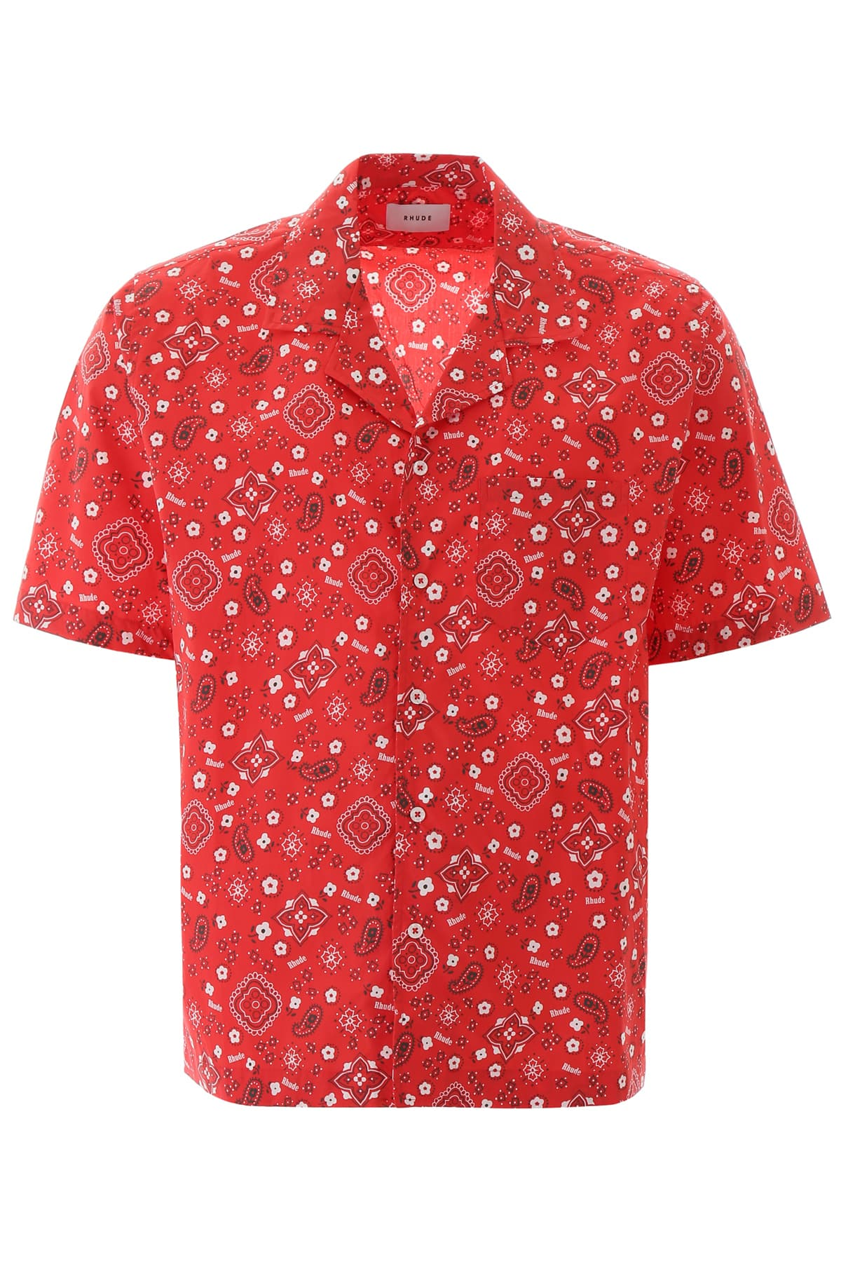 RHUDE BANDANA PRINT SHIRT L Red, White Cotton