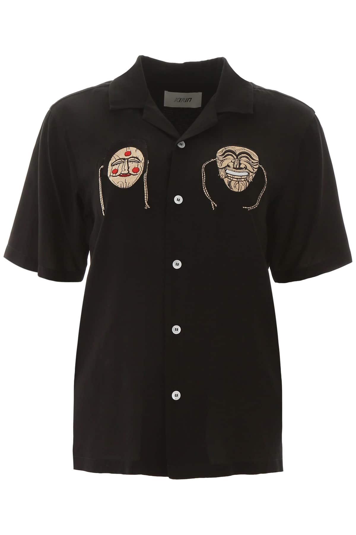 KIRIN MASK EMBROIDERY SHIRT 40 Black, Beige