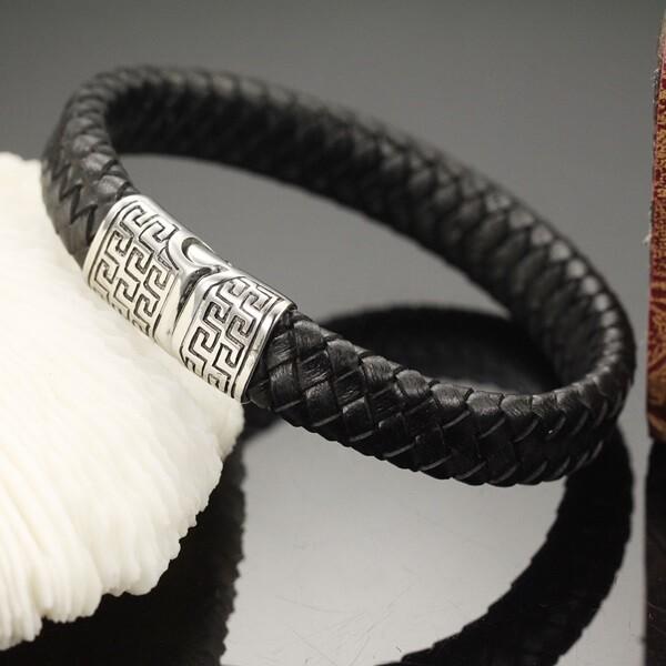 米蘭精品真皮手環 鈦鋼手鍊-復古雕刻迴紋磁吸扣男飾品73cq5
