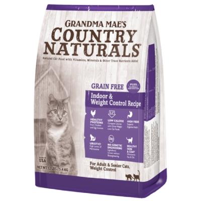 美國GRANDMA MAE S梅亞奶奶鄉村天然寵糧-室內成貓/高齡/體重控制私房無穀化毛鮮嫩雞 300g (三包組)