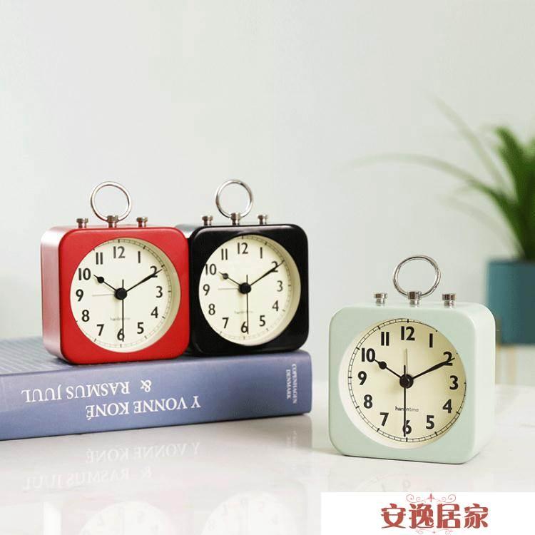 創意宿舍小鬧鐘學生用床頭靜音小型個性懶人簡約桌面迷你家用時鐘