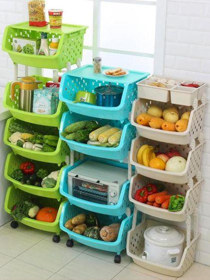 廚房置物架落地多層水果蔬菜架子收納籃儲物筐玩具用品用具小百貨