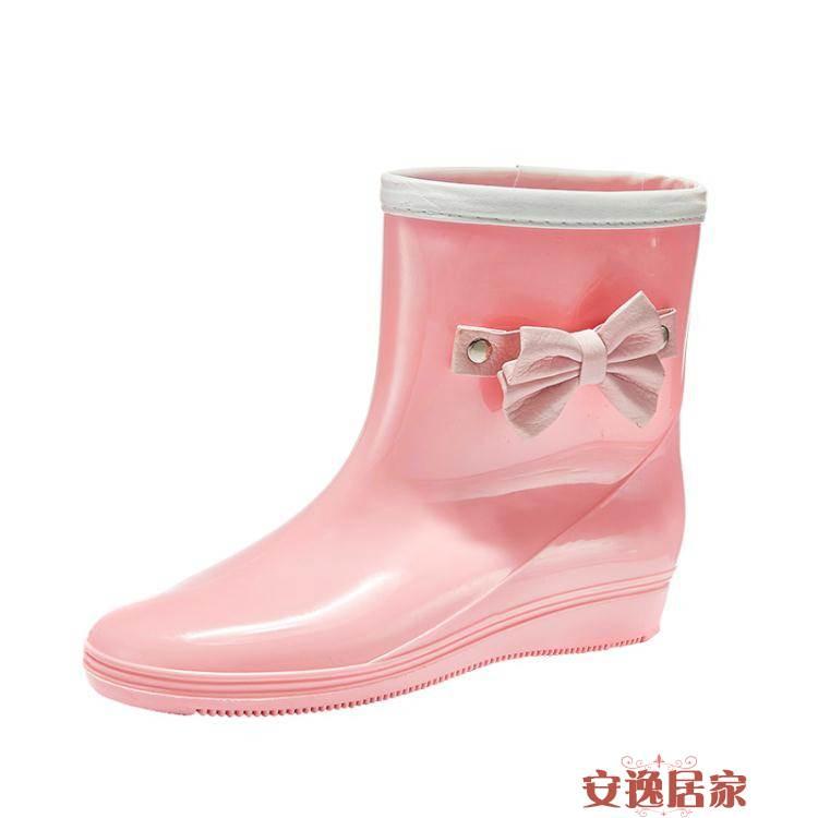 雨鞋雨靴女韓國可愛蝴蝶結水鞋中筒成人防水鞋防滑時尚款外穿加絨