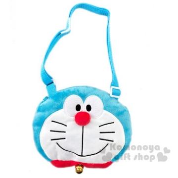 哆啦A夢 兒童大臉造型絨毛拉鍊斜背包《藍白》側背包.隨身包
