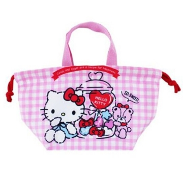 Hello Kitty 棉質 束口便當袋 手提袋 縮口袋 便當提袋 (粉 格紋)