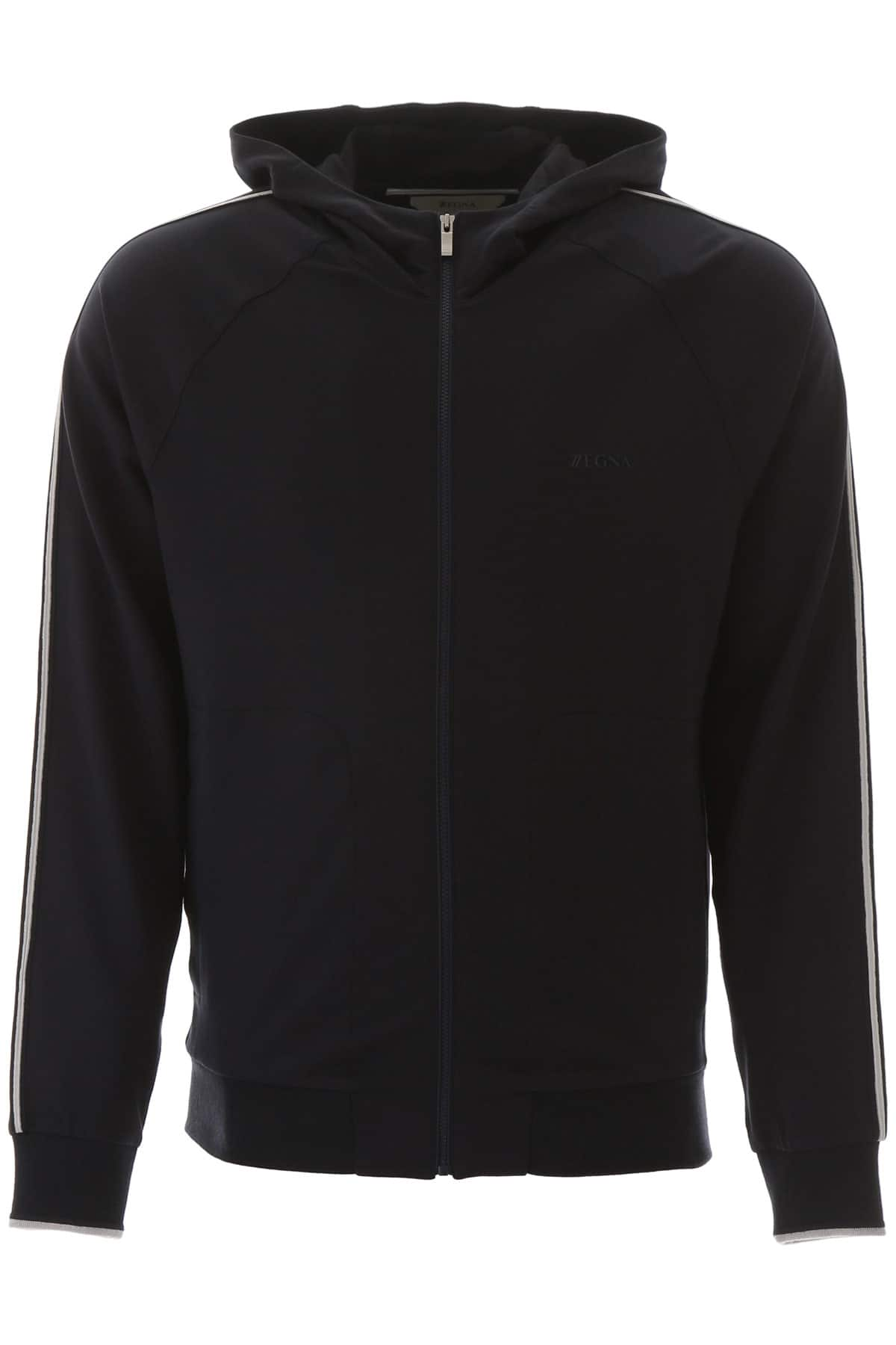 Z ZEGNA HOODIE WITH RUBBER LOGO L Blue Cotton