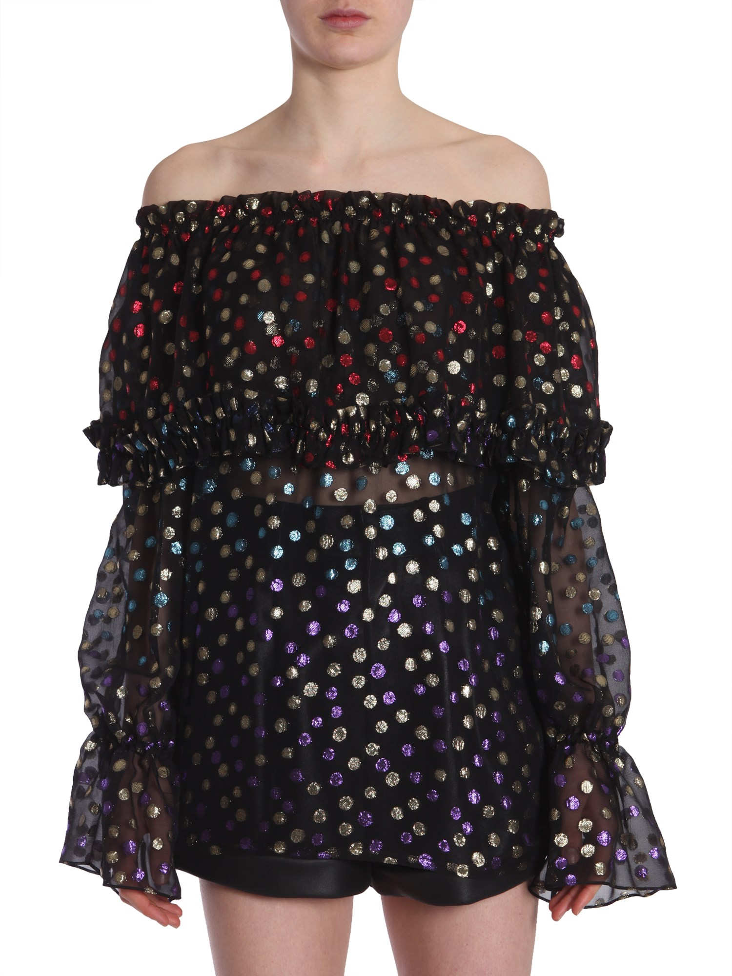 saint laurent gypsy blouse with smocked shoulders
