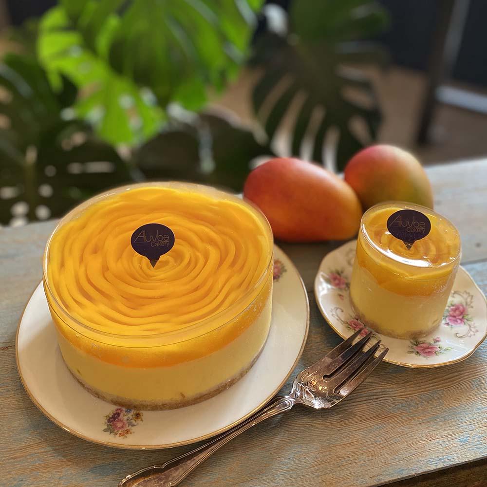 艾樂比 【愛文芒果果凍玫瑰慕斯蛋糕】 3吋蛋糕 甜點 慕斯蛋糕 芒果蛋糕 水果蛋糕 夏季限定 aluvbe