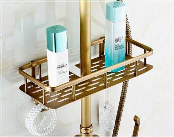 全銅仿古花灑置物架帶掛鉤淋浴籃子角架層架化妝架洗漱架