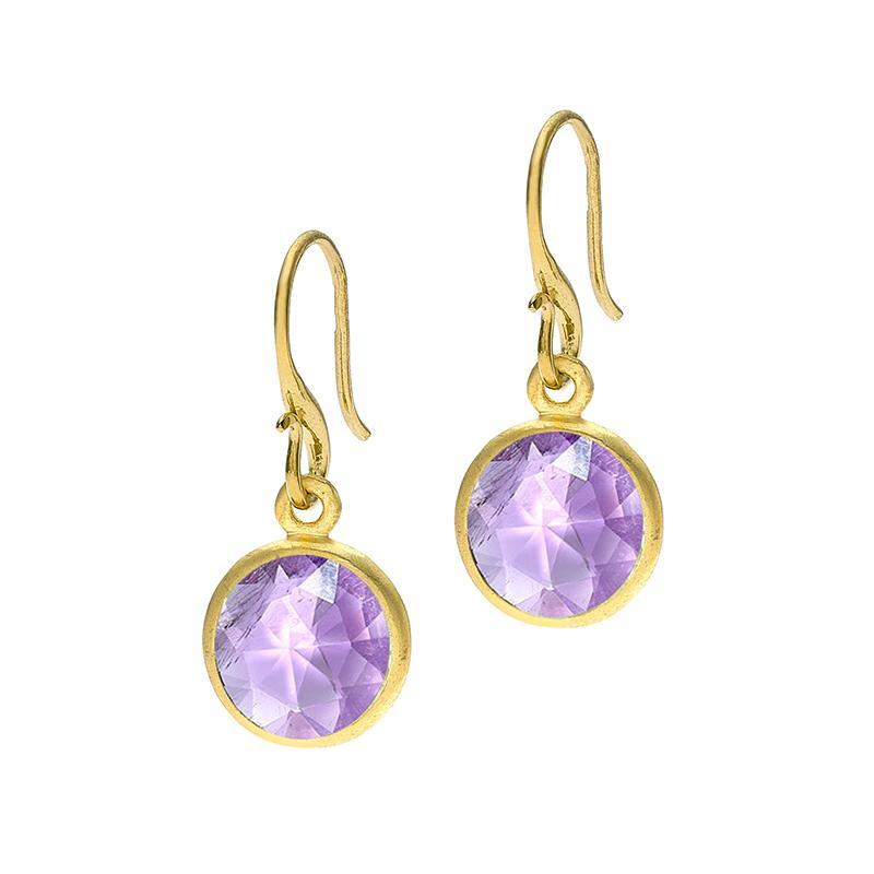 Round Amethyst Jewel Drop Earrings