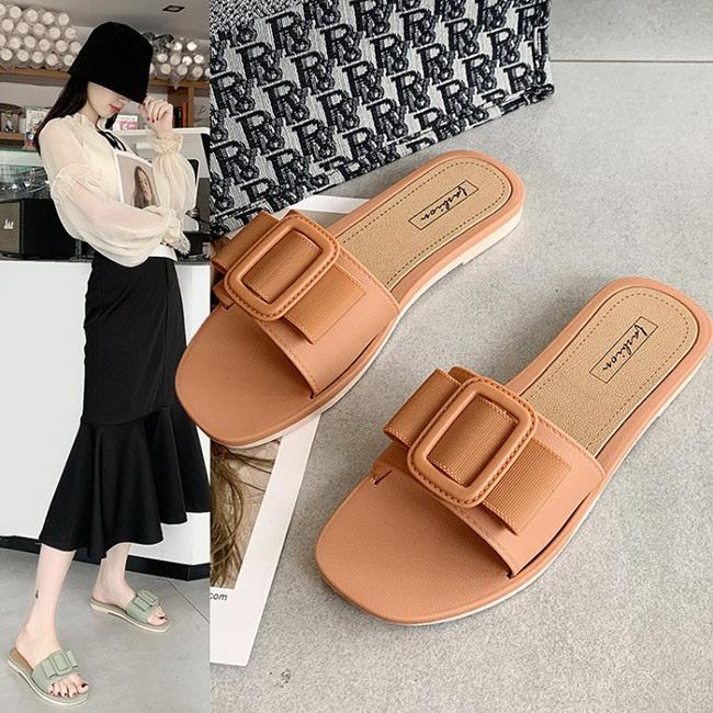 FOFU-低跟拖鞋大搭扣裝飾純色簡約低跟拖鞋【02S12229】