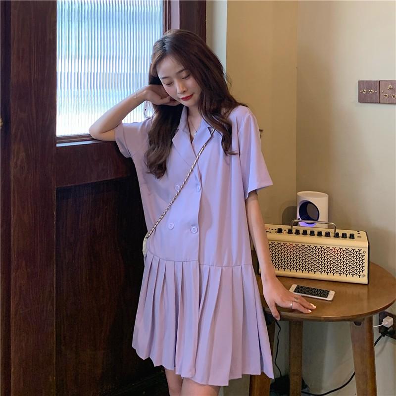 新款韓版復古A字雪紡裙百搭氣質翻領短袖西裝洋裝女潮