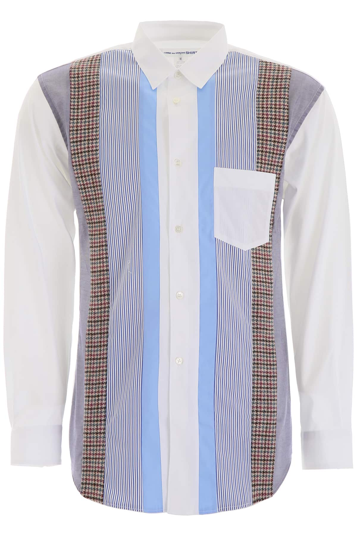 COMME DES GARCONS SHIRT STRIPED PATCHWORK SHIRT M White, Light blue, Blue Cotton