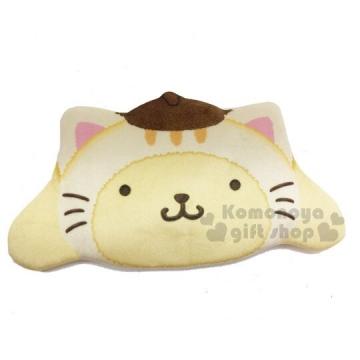 布丁狗 貓裝大臉造型絨布化妝包《黃棕》零錢包.收納包