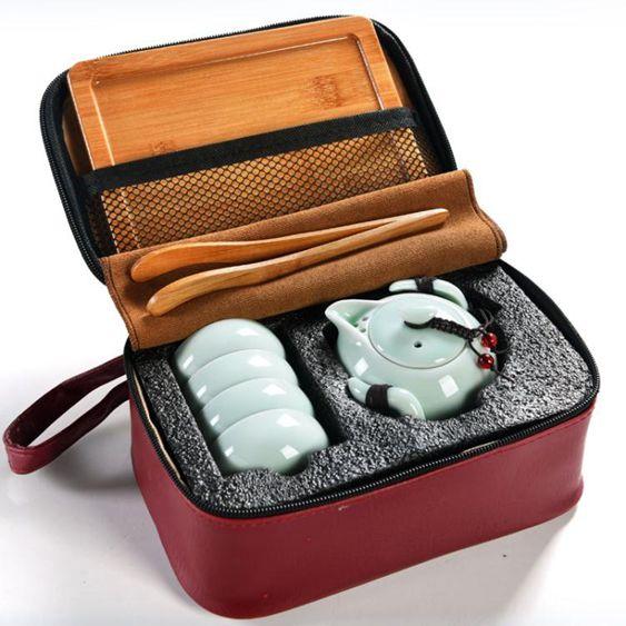 青瓷旅行功夫茶具套裝訂製logo一壺二杯快客茶壺戶外便攜整家用陶