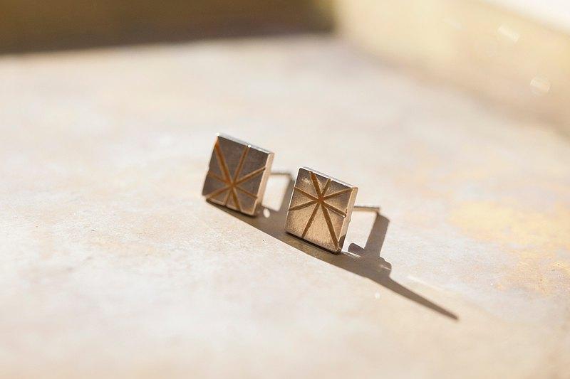 純銀線條珐瑯耳環-桃色  一對