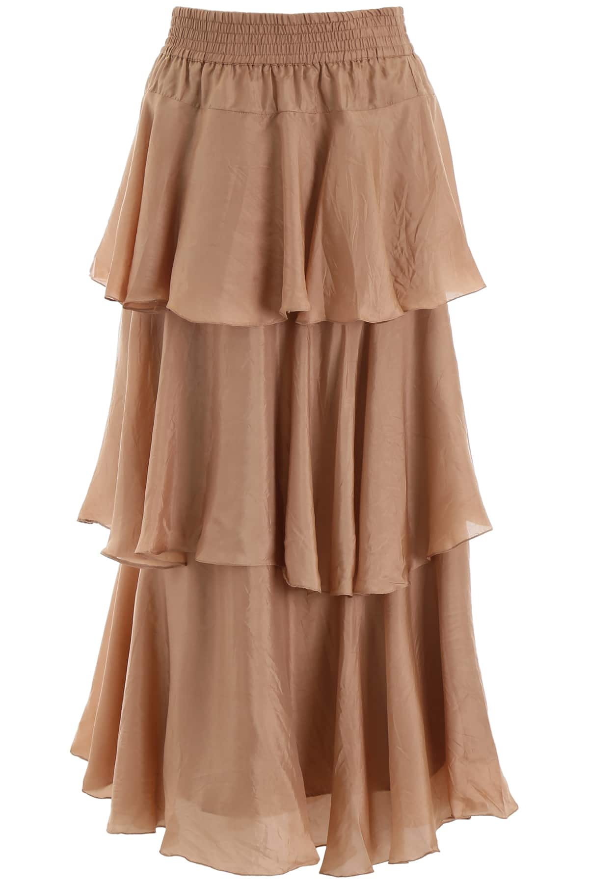 MES DEMOISELLES MEDUSA SKIRT 38 Pink, Beige Silk