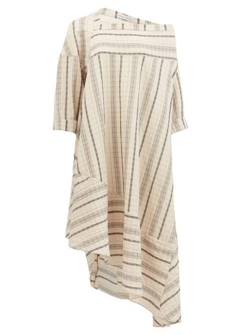 Palmer//harding - Off-shoulder Striped Linen-blend Dress - Womens - Beige Stripe