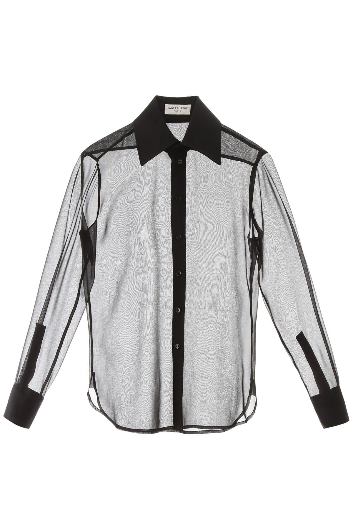 SAINT LAURENT CHIFFON SHIRT 40 Black Silk