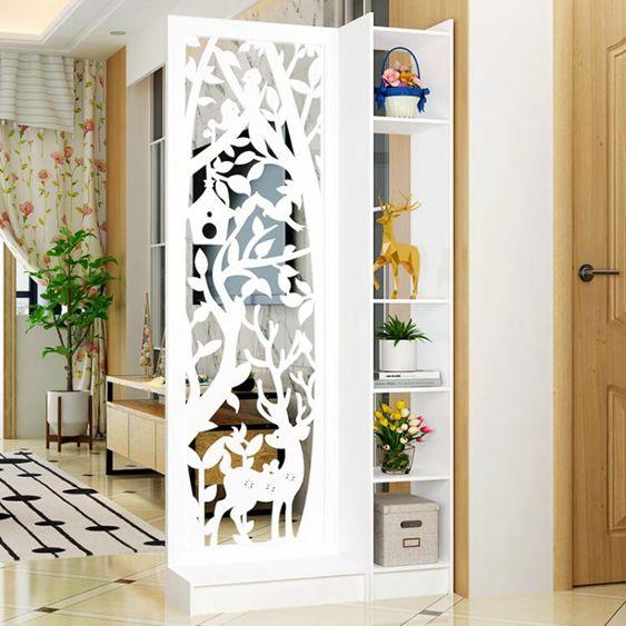 屏風隔斷玄關櫃歐式鏤空簡約現代隔斷櫃客廳白色雕花折屏雙面門廳