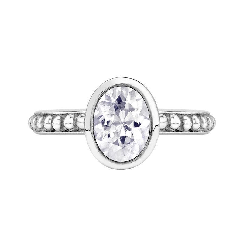 Oval White Topaz Granular Dotty Twinkle Ring
